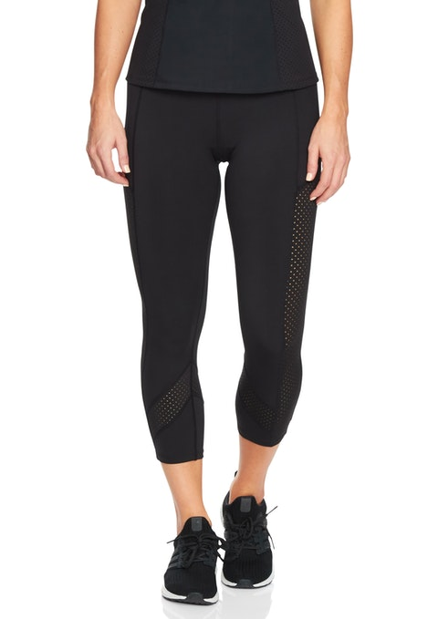 Black Essentials 7/8 Perforated Tight