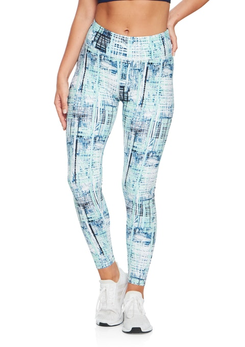 Blue Crosshatch Fl Blue Crosshatch Print Tight