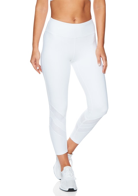 White Ankle Grazer Perforated Tight