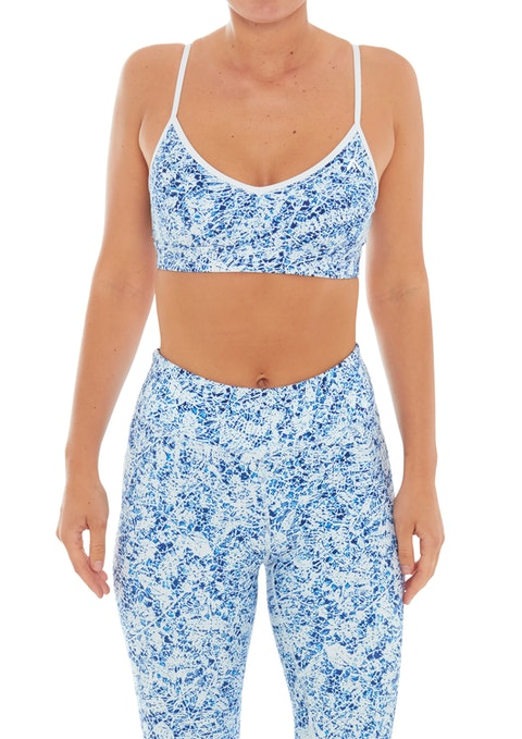 Blue Mosaic Li Strappy Back Sports Bra