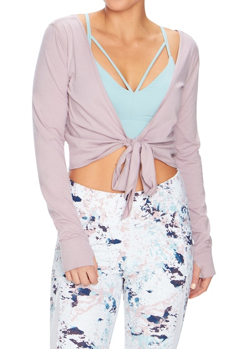 Orchid Zen Tie Front Long Sleeve Top