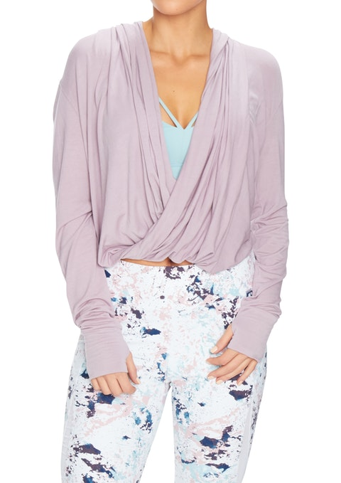 Orchid Zen Drape Front Long Slv Top
