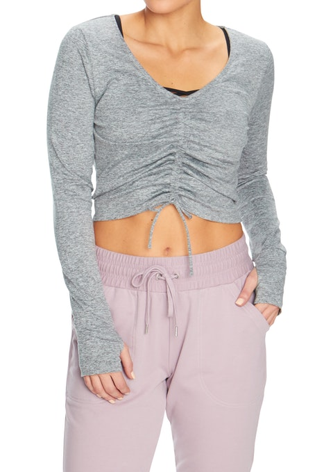 Mid Grey Marle Zen Ruch Frt Cropped Long Slv Top