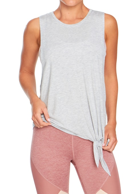 Light Grey Marle Poise Tie Front Tie Tank