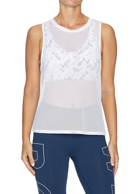 White Hibiscus All Over Mesh Active Tank