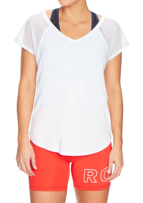 White Mesh Shoulder Tee