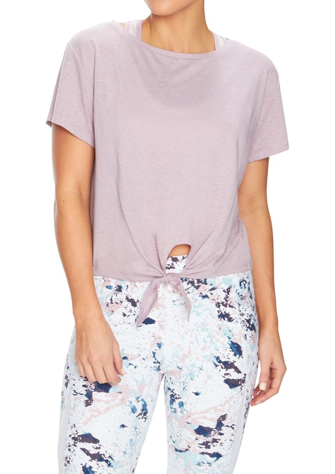 Orchid Zen Knot Front Washed Tee