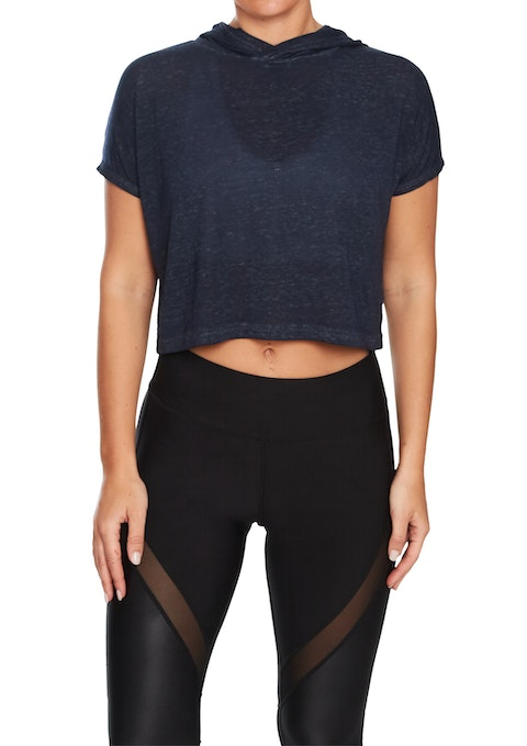 Midnight Pacific Cropped Hooded Tee