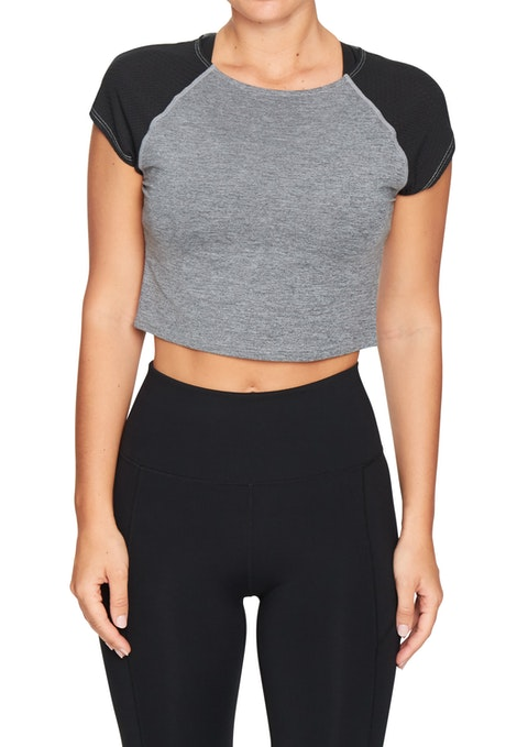 Mid Grey Marle Pacific Fitted Active Crop