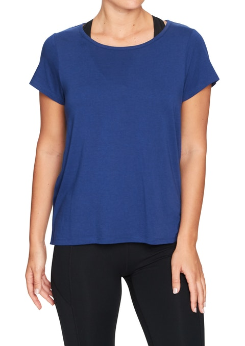Royal Blue Hibiscus Mesh Racer Back Tee