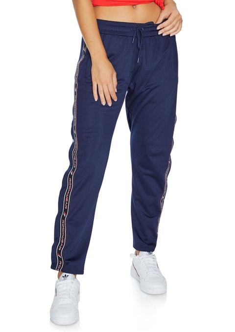 French Navy Tape Side Snap Pant