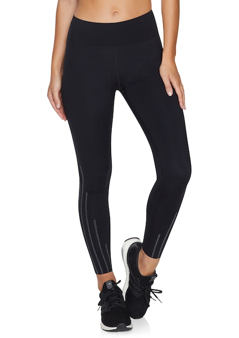 Black Fl Reflective Compression Tight
