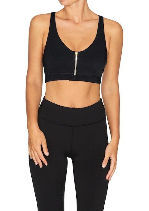Black Energise Medium Impact Zip Front Sports Bra