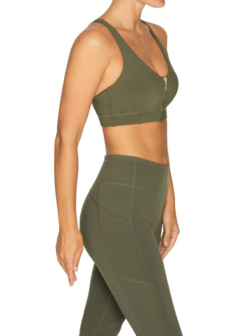 Military Energise Medium Impact Zip Front Sports Bra