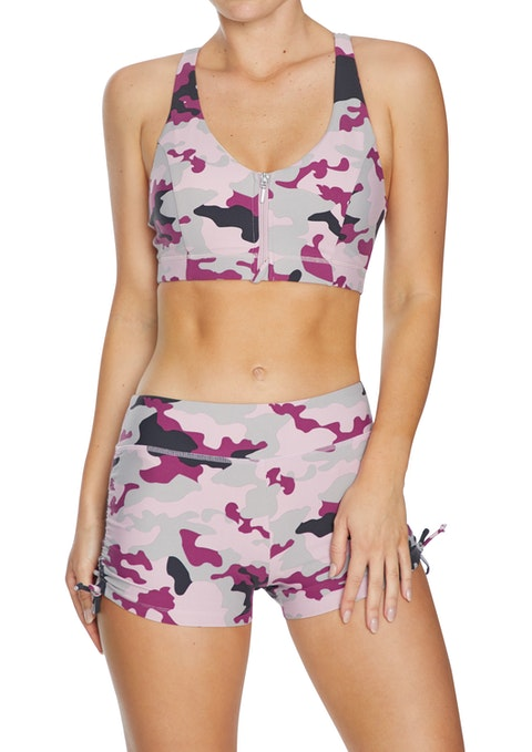 Soft Camo Energise Medium Impact Zip Front Sports Bra