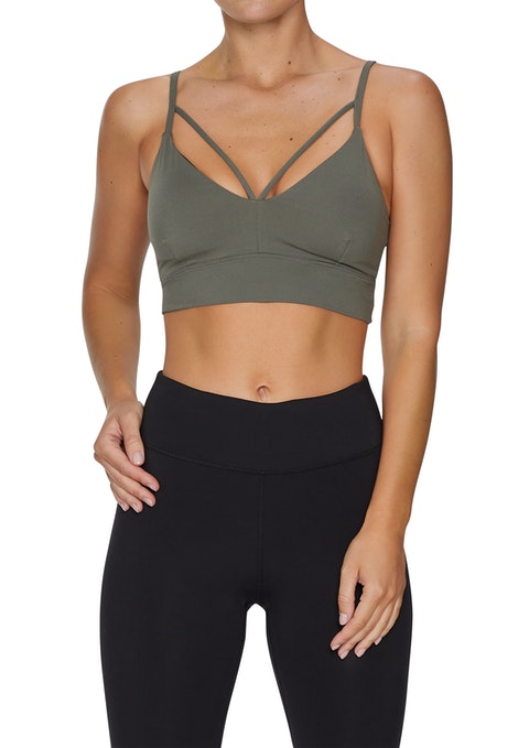 Military Front Strap Low Impact Seamless Sports Bra