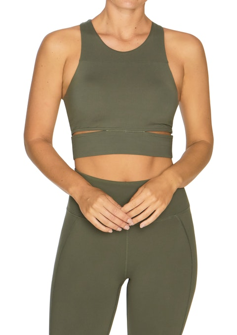 Military Longline Low Impact Crop Sports Bra