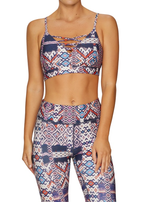 Ikat Low Impact Strappy Front Sports Bra