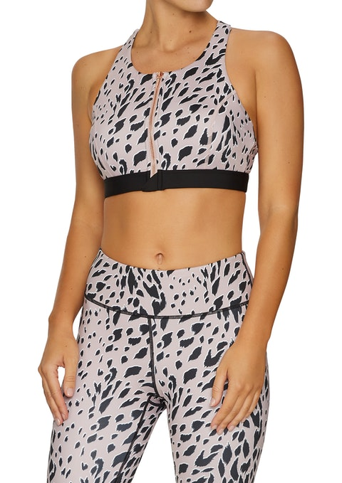 Rose Leopard Animal Print Medium Impact Zip Front Sports Bra