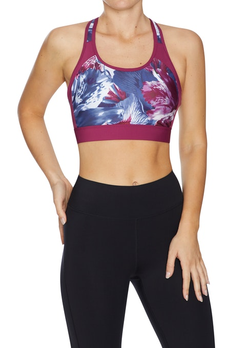 Berry Floral Olympic High Impact Clip Back Sports Bra
