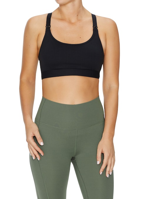 Black Maternity Medium Impact T Back Sports Bra