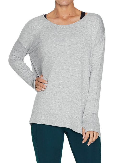 Light Grey Marle Seam Detail Slouch Sweat