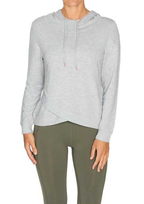 Light Grey Marle Winter Keyhole Wrap Back Jumper