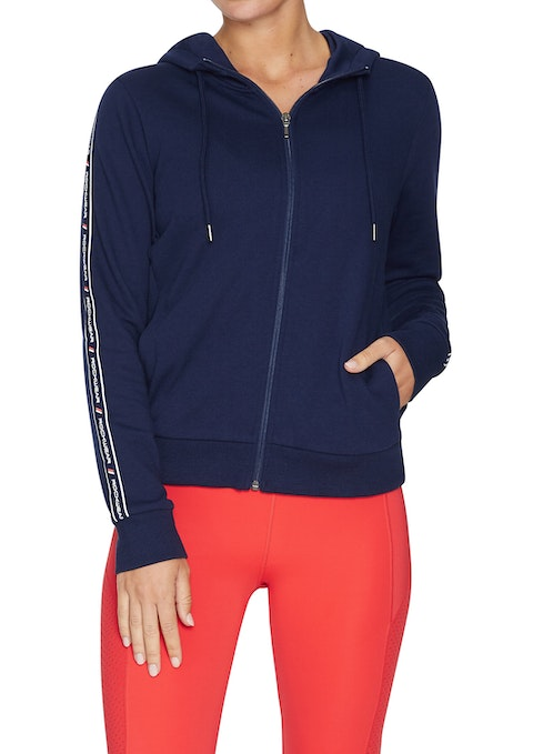 French Navy Rewind Tape Sleeve Front Zip Hoodie