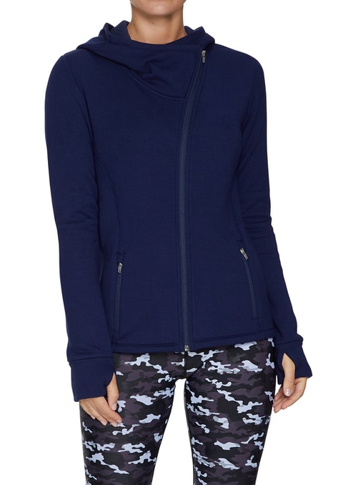 French Navy Asymmetric Relax Hooded Jacket