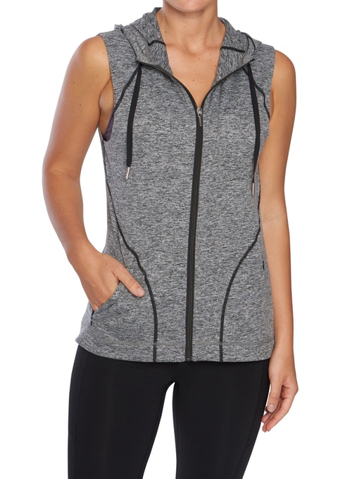 Mid Grey Marle Winter Hooded Active Vest