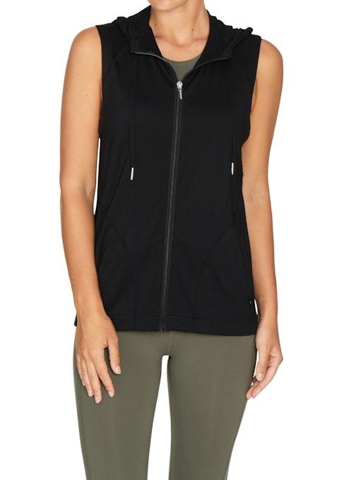 Black Sleeveless Hooded Jacket