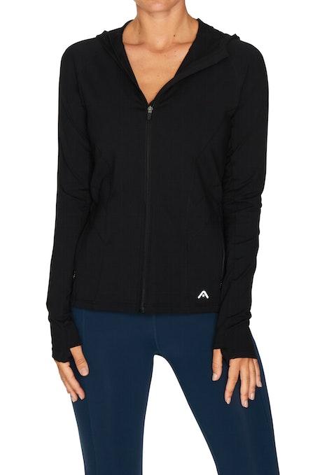 Black Supplex Hooded Active Jacket