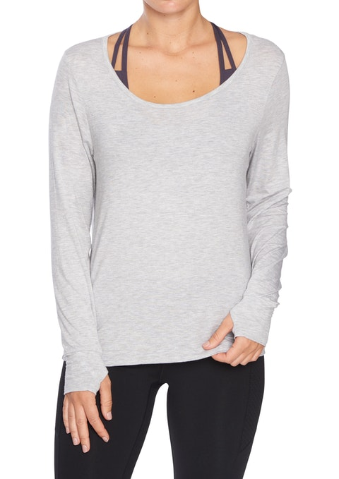 Light Grey Marle Rockwear Drape Back Long Sleeve Top