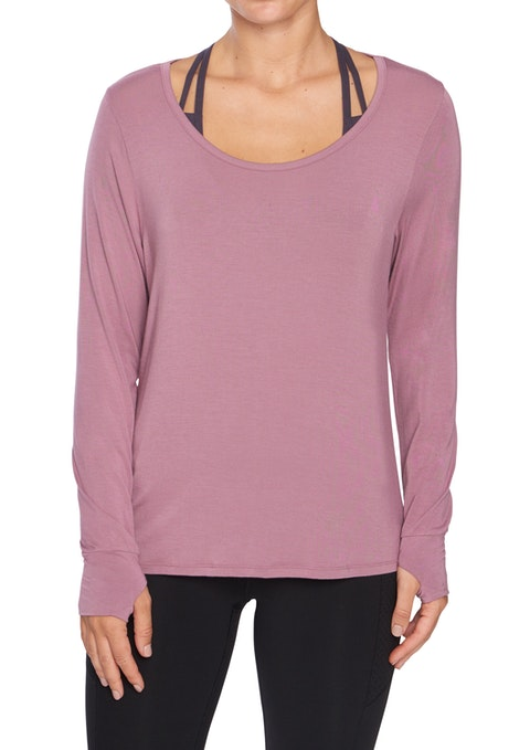 Mauve Rockwear Drape Back Long Sleeve Top