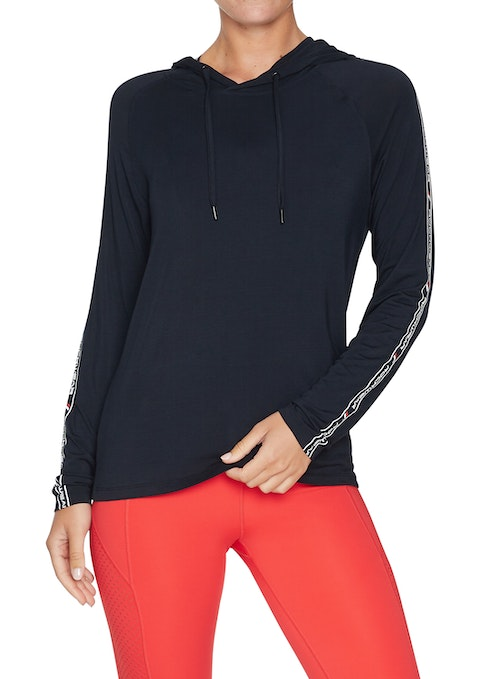 Black Rewind Hooded Print Sleeve Ls Top