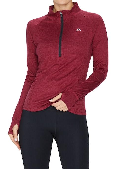 Merlot Running Zip Long Sleeve Top