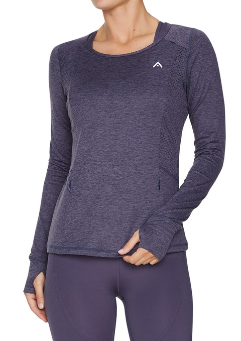 Boysenberry Perforated Ls Running Top