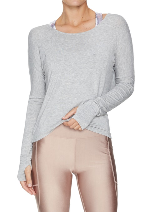 Light Grey Marle Nude Glow Racer Back Long Sleeve Top