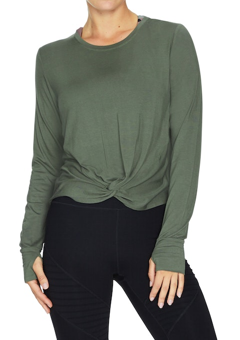 Military Force Knot Front Long Sleeve Top