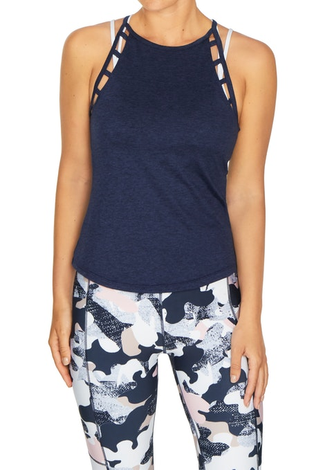 French Navy Soho Ladder Armhole Fitted Singlet