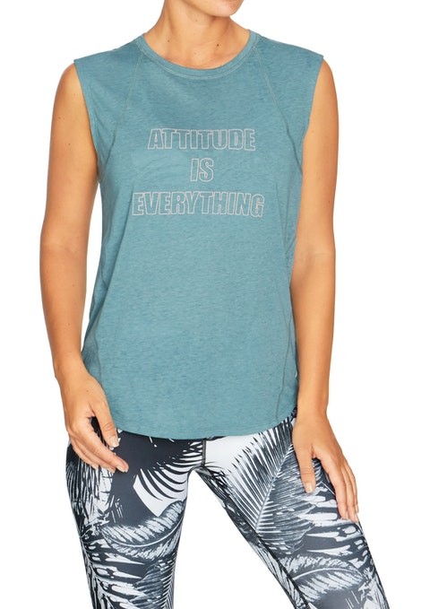 Seafoam Engage Front Print Split Back Tank