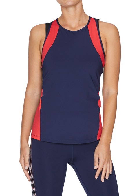 French Navy Rewind Colour Block Fitted Singlet