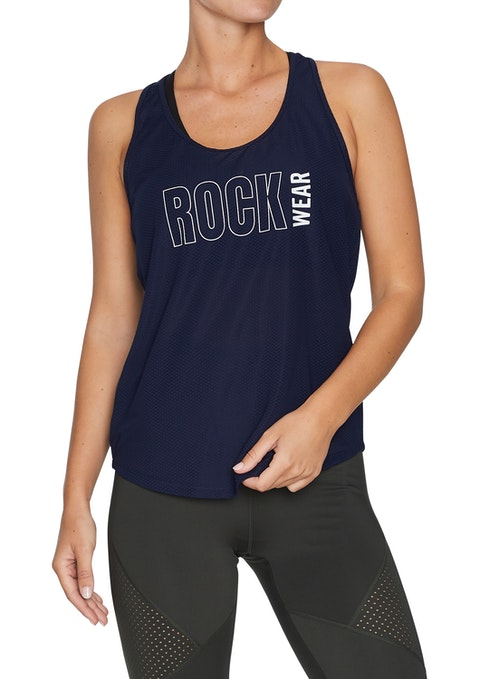 French Navy Front Print Racer Back Singlet