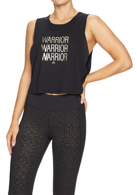 Black Shimmer Front Print Cropped Tank