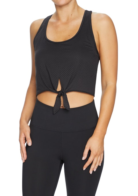 Black Gi Jane Tie Front Perforated Crop