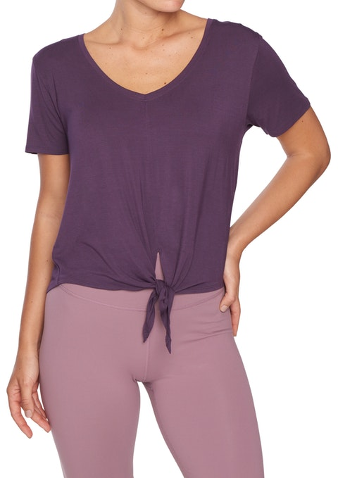 Grape Nevada Tie Front V Neck Tee