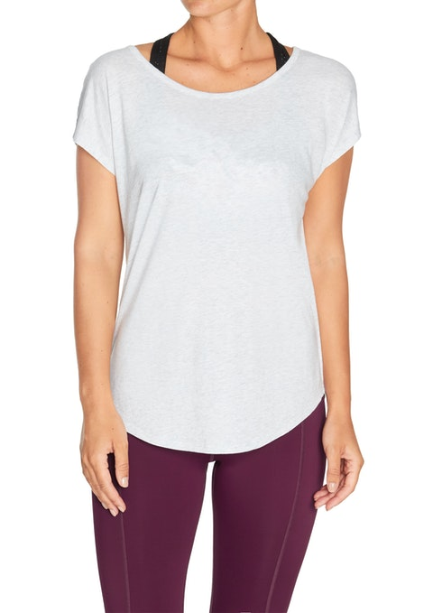 Light Grey Marle Balance Keyhole Casual Tee