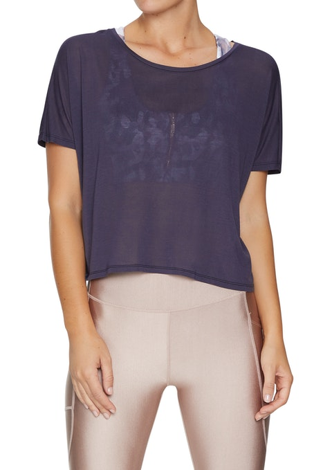 Boysenberry Nude Glow Crop Relaxed Tee