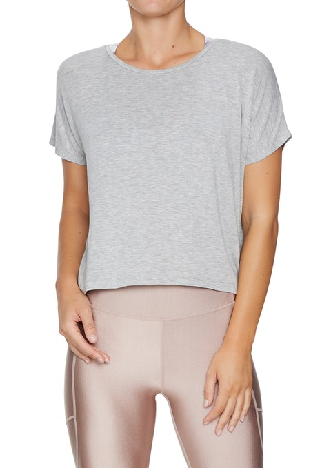 Light Grey Marle Nude Glow Crop Relaxed Tee