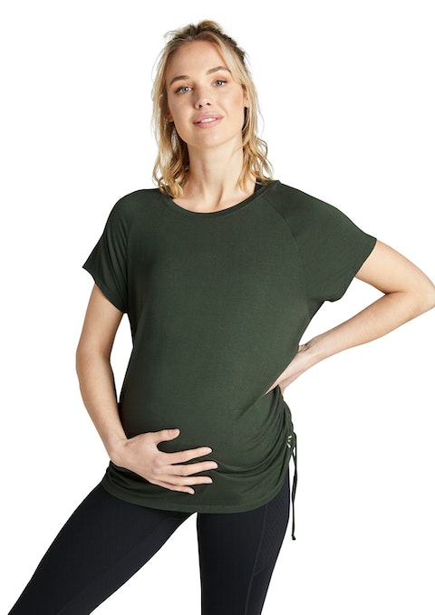 Khaki Maternity Ruched Casual Tee